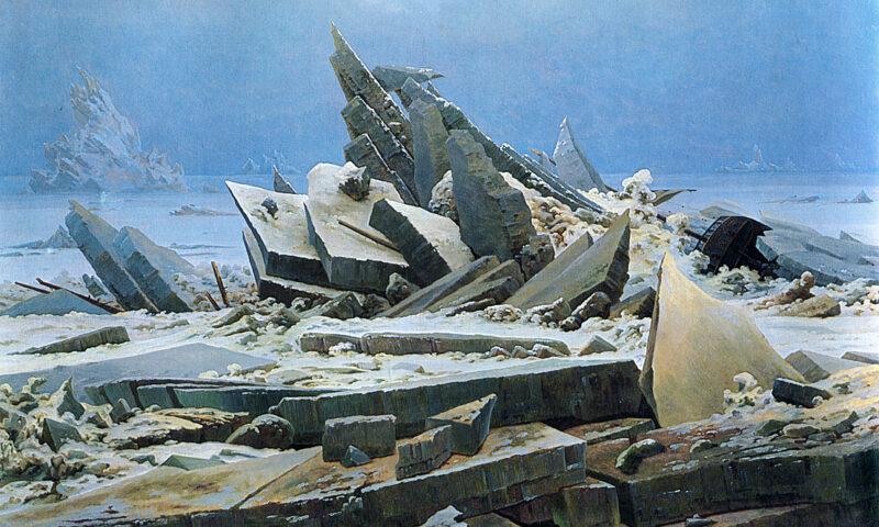 Obraz przedstawia ogromne kry lodu.