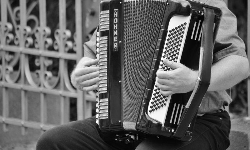 Obraz przedstawia mężczyznę grającego na akordeonie.