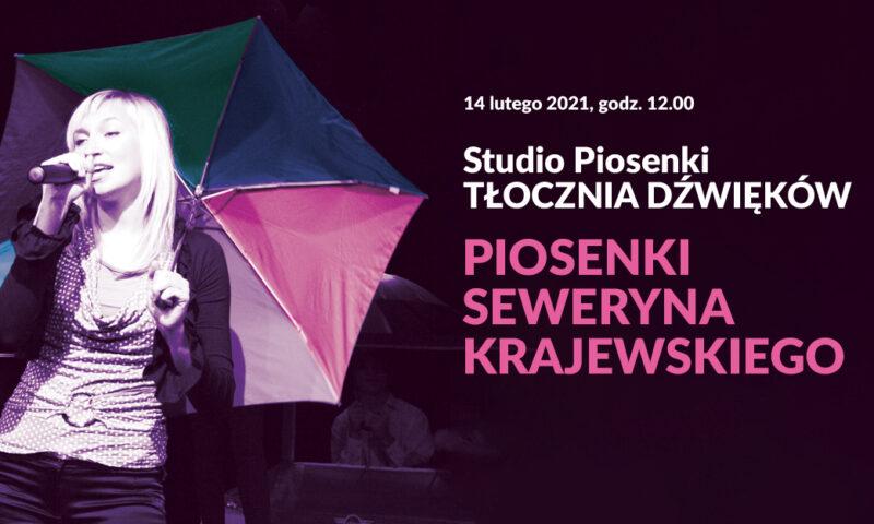 Zdjęcie z tekstem - dziewczyna z parasolem i mikrofonem w dłoni