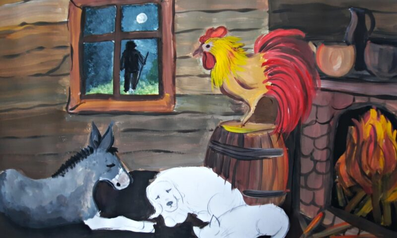 koń, psy i kogut w chacie