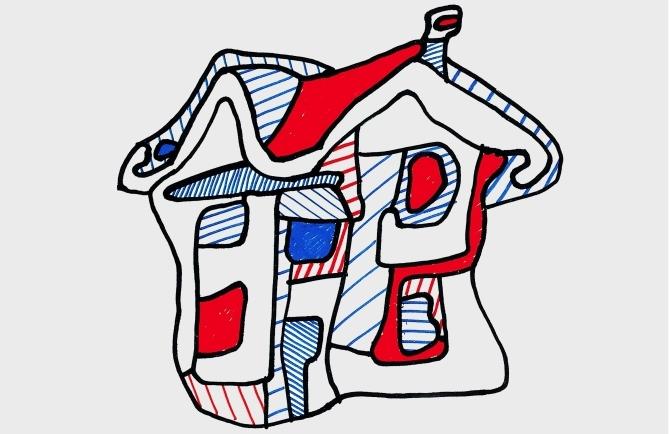 Domy z kolorowymi oknami w artystycznej odsłonie