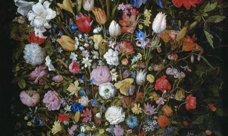 Bukiet kwiatów na czarnym tle.