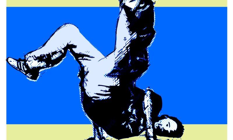Plakat do wydarzenia z tancerzem wykonującym jedną z figur breakdance