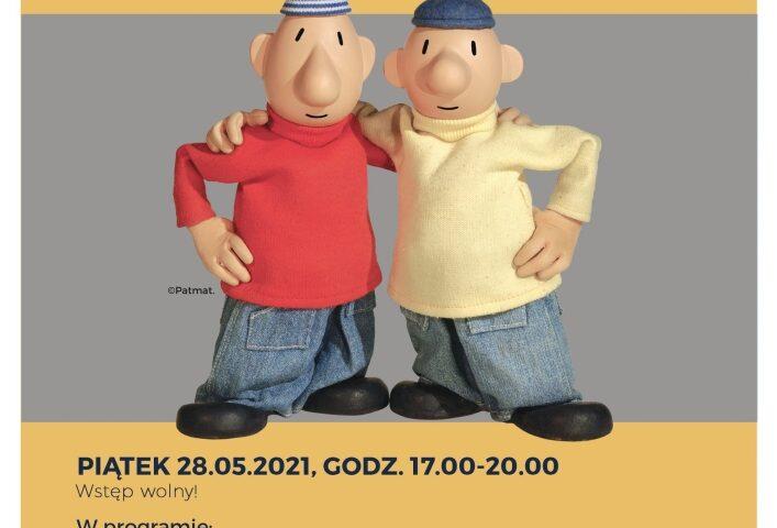 Pat i Mat z bajki animowanej w żółtych i czerwonym sweterku