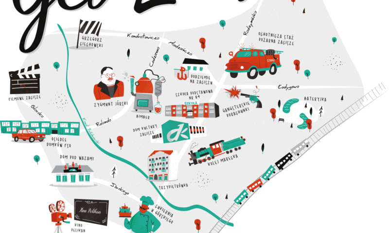 Mapa z graficznymi elementami charakterystycznych miejsc na Zaciszu