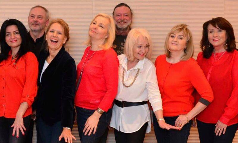 sześć kobiet i dwóch mężczyzn uśmiechających się